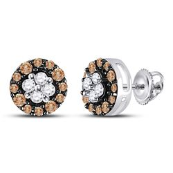 Round Brown Diamond Cluster Stud Earrings 1/3 Cttw 10kt White Gold