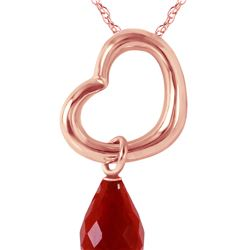 Genuine 3.3 ctw Ruby Necklace 14KT Rose Gold - REF-30P7H