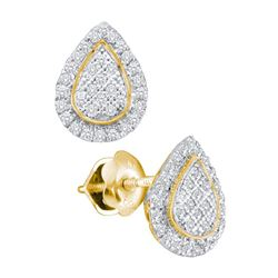 Diamond Teardrop Cluster Screwback Earrings 1/5 Cttw 10kt Yellow Gold