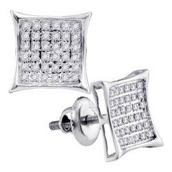 Diamond Square Cluster Earrings 1/4 Cttw 10kt White Gold