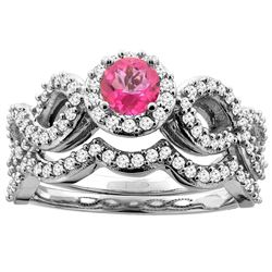 1.06 CTW Pink Topaz & Diamond Ring 14K White Gold - REF-93V3R