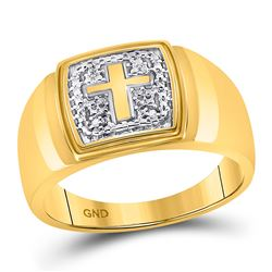 Mens Diamond Cross Band Ring .01 Cttw 10kt Yellow Gold