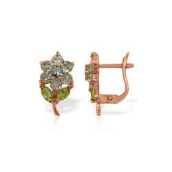 Genuine 2.12 ctw Aquamarine & Pearl Earrings 14KT Rose Gold - REF-41H4X