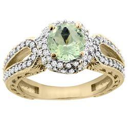 1.25 CTW Amethyst & Diamond Ring 14K Yellow Gold - REF-86X7M