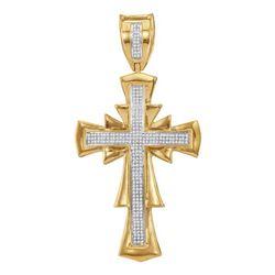 Mens Diamond Scalloped Cross Charm Pendant 3/4 Cttw 10kt Yellow Gold