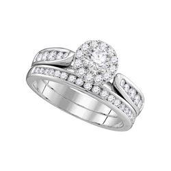 Diamond Round Halo Bridal Wedding Engagement Ring Band Set 1.00 Cttw 14kt White Gold