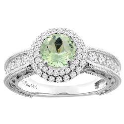 1.25 CTW Amethyst & Diamond Ring 14K White Gold - REF-91M6K