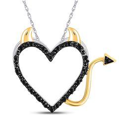 Round Black Color Enhanced Diamond Devil Naughty Heart Pendant 1/20 Cttw 10kt White Gold