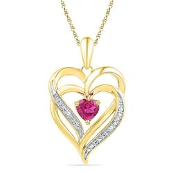 Round Lab-Created Pink Sapphire Double Heart Pendant .01 Cttw 10kt Yellow Gold
