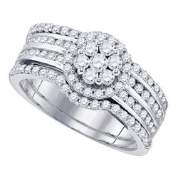 Diamond Cluster 3-Piece Bridal Wedding Engagement Ring Band Set 1.00 Cttw 14kt White Gold