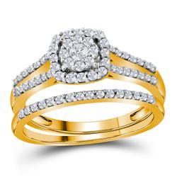 Diamond Split-shank Bridal Wedding Engagement Ring Band Set 1/2 Cttw 10kt Yellow Gold