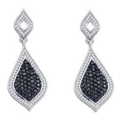 Round Black Color Enhanced Diamond Dangle Earrings 2.00 Cttw 10kt White Gold