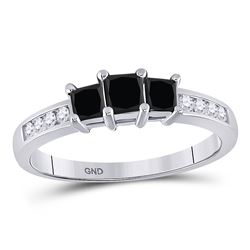 Round Black Color Enhanced Diamond 3-stone Bridal Wedding Engagement Ring 7/8 Cttw 10kt White Gold