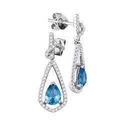 Pear Blue Topaz Solitaire Teardrop Diamond Frame Dangle Earrings 1/3 Cttw 14kt White Gold