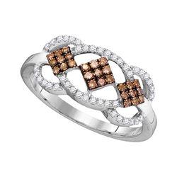 Round Brown Diamond Cluster Ring 1/3 Cttw 10kt White Gold