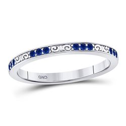 Round Blue Sapphire Flourished Stackable Band Ring 1/6 Cttw 10kt White Gold