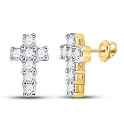 Diamond Roman Cross Stud Earrings 1/4 Cttw 10kt Yellow Gold