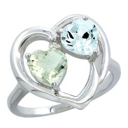 2.61 CTW Diamond, Green Amethyst & Aquamarine Ring 14K White Gold - REF-38M2K