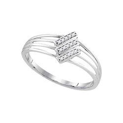 Diamond Stripe Band Ring 1/20 Cttw 10kt White Gold