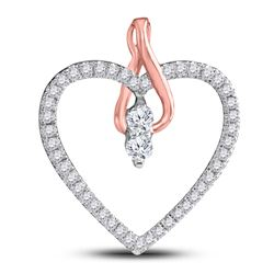 Diamond 2-stone Heart Pendant 1/4 Cttw 14kt White Gold