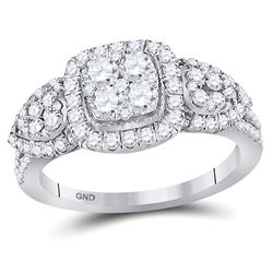 Diamond Square Halo Cluster Ring 1-1/4 Cttw 10kt White Gold