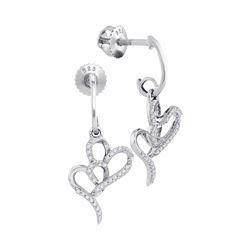 Diamond Double Heart Dangle Earrings 1/6 Cttw 10kt White Gold