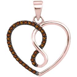 Round Brown Diamond Heart Infinity Pendant 1/8 Cttw 10kt Rose Gold