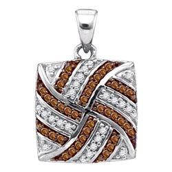 Round Brown Diamond Square Pendant 1/4 Cttw 10kt White Gold