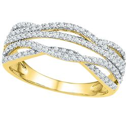 Diamond Woven Band Ring 1/3 Cttw 10kt Yellow Gold