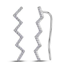 Diamond Zig Zag Climber Earrings 1/6 Cttw 10kt White Gold