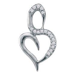 Diamond Small Heart Pendant 1/20 Cttw 10kt White Gold