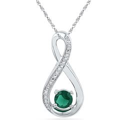 Round Lab-Created Emerald Infinity Diamond Pendant 1/2 Cttw 10kt White Gold