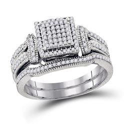 Diamond Cluster Bridal Wedding Engagement Ring Band Set 3/8 Cttw 10kt White Gold