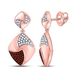 Round Red Color Enhanced Diamond Square Dangle Earrings 1/3 Cttw 10kt Rose Gold
