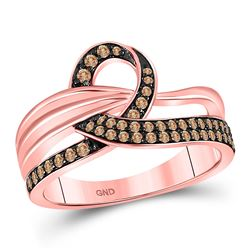 Round Brown Diamond Loop Ring 1/3 Cttw 14kt Rose Gold