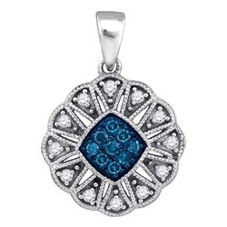 Round Blue Color Enhanced Diamond Fashion Pendant 1/5 Cttw 10kt White Gold