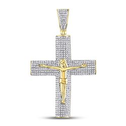 Mens Diamond Roman Cross Crucifix Jesus Charm Pendant 1-1/2 Cttw 10kt Yellow Gold