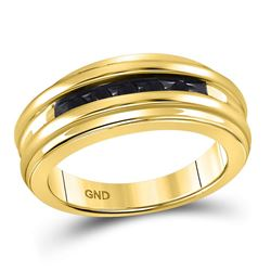 Mens Round Black Color Enhanced Diamond Band Ring 1/4 Cttw 10kt Yellow Gold
