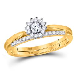Diamond Halo Bridal Wedding Engagement Ring Band Set 1/4 Cttw 10kt Yellow Gold