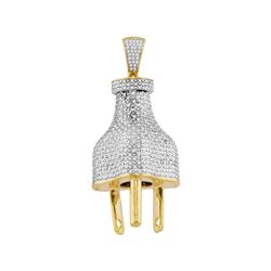 Mens Diamond Power Plug Charm Pendant 1.00 Cttw 10kt Yellow Gold