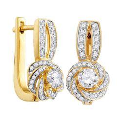 Diamond Swirled Cluster Hoop Earrings 3/4 Cttw 10kt Yellow Gold