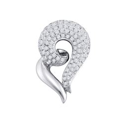 Round Pave-set Diamond Curled Heart Pendant 3/4 Cttw 14kt White Gold