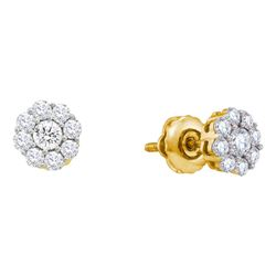 Diamond Flower Cluster Screwback Stud Earrings 1/2 Cttw 14kt Yellow Gold