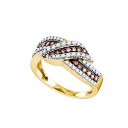 Round Brown Diamond Crossover Band Ring 3/4 Cttw 10kt Yellow Gold