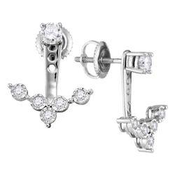 Diamond Earring Jacket Studs 5/8 Cttw 10kt White Gold