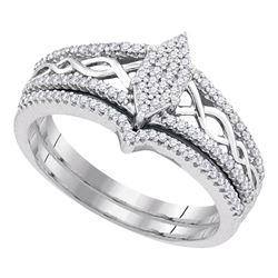 Diamond Oval Cluster Bridal Wedding Engagement Ring Band Set 1/3 Cttw 10kt White Gold