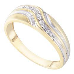 Mens Diamond Single Row Two-tone Wedding Band Ring 1/20 Cttw 10kt Yellow Gold