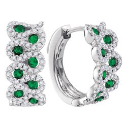 Round Emerald Diamond Hoop Earrings 1-3/8 Cttw 14kt White Gold