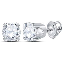 Unisex Diamond Solitaire Stud Earrings 1/2 Cttw 14kt White Gold