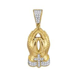 Mens Diamond Rosary Praying Hands Charm Pendant 1/4 Cttw 10kt Yellow Gold